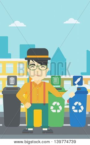 An asian young man throwing away plastic bottle. Man standing near four bins in the city and throwing away plastic bottle in an appropriate bin. Vector flat design illustration. Vertical layout.