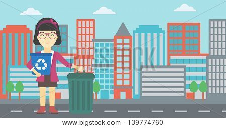 An asian young woman carrying recycling bin. Woman with recycling bin standing near a trash can on a city background. Vector flat design illustration. Horizontal layout.