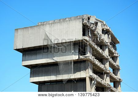 Demolition of the old Birmingham Central Library Birmingham England UK Western Europe.