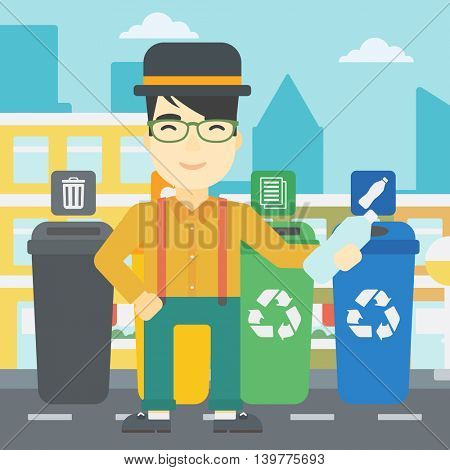 An asian young man throwing away plastic bottle. Man standing near four bins in the city and throwing away plastic bottle in an appropriate bin. Vector flat design illustration. Square layout.