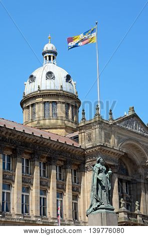View of the Council House in Victoria Square with a statue of Queen Victoria in the foreground Birmingham England UK Western Europe.