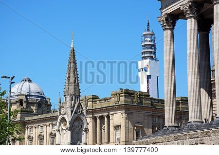 BIRMINGHAM, UNITED KINGDOM - JUNE 6, 2016 - Corner of Town Hall with the Council House and BT Tower to the rear Birmingham England UK Western Europe, June 6, 2016.