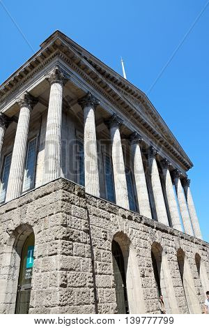 BIRMINGHAM, UNITED KINGDOM - JUNE 6, 2016 - View of the classical Town Hall with its impressive columns in Victoria Square, Birmingham, England, UK, June 6, 2016.