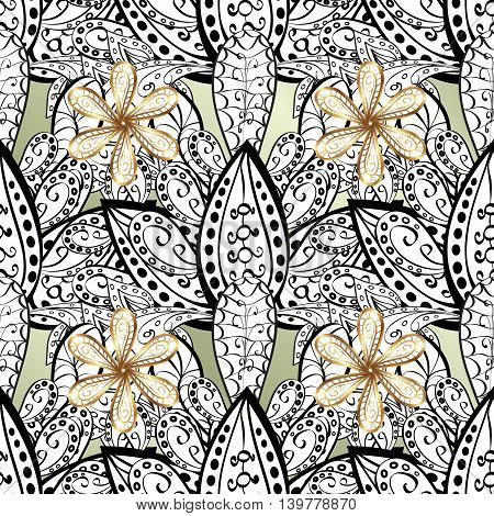 Vintage pattern on white background with golden elements.