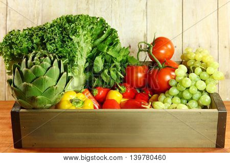 Fresh Selection of Colorful Produce in a Box