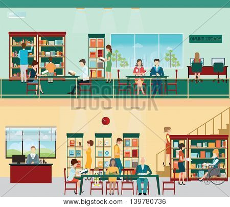 Various character of people in Bookstore or library with bookshelves adult and teenager business people and wheel chair of disabled woman vector illustration.