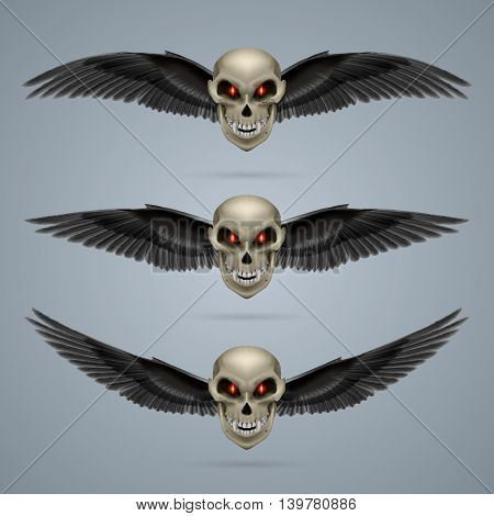 Three terrifying mutant skulls with black wings