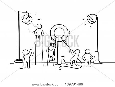 Sketch of working little people with big key. Doodle cute miniature scene of workers with discovery concept. Hand drawn cartoon vector illustration for business design and infographic.
