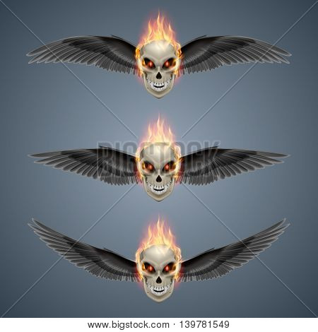 Set of mutant skulls with orange flame and black wings