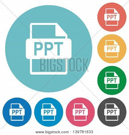 Flat PPT file format icon set on round color background.