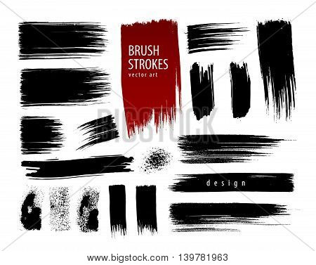 Hand painted collection brush strokes. Vector illustration