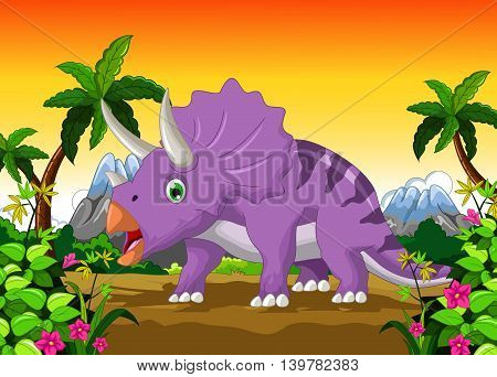 Dinosaur Triceratops cartoon with forest landscape background