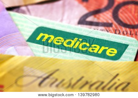 Australian Medicare card and money.