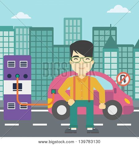 An asian man charging electric car at charging station in the city. Man standing near power supply for electric car charging. Vector flat design illustration. Square layout.