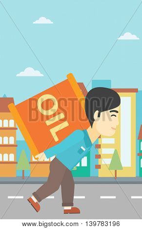 An asian man carrying an oil barrel on his back. Man with oil barrel walking on a city background. Man with oil barrel on his back. Vector flat design illustration. Vertical layout.