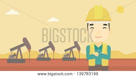 An asian oil worker in uniform and helmet. An oil worker with crossed arms. An oil worker standing on a background of pump jack. Vector flat design illustration. Horizontal layout.