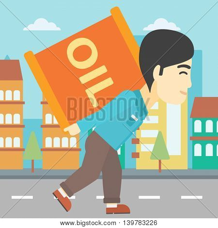 An asian man carrying an oil barrel on his back. Man with oil barrel walking on a city background. Man with oil barrel on his back. Vector flat design illustration. Square layout.