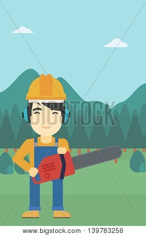 An asian lumberjack in helmet holding a chainsaw on a forest background. Vector flat design illustration. Vertical layout.