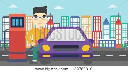 An asian man filling up fuel into the car. Man standing at the gas station and refueling a car. Vector flat design illustration. Horizontal layout.