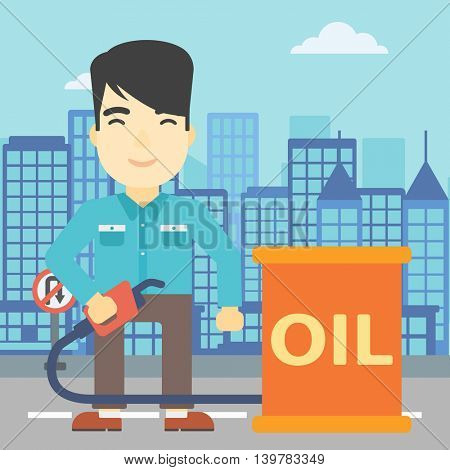 An asian man standing near oil barrel. Man holding gas pump nozzle on a city background. Man with gas pump and oil barrel. Vector flat design illustration. Square layout.