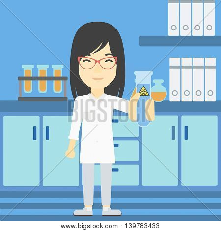 An asian female scientist holding a test tube with biohazard sign. Scientist examining a test tube in a chemical laboratory. Vector flat design illustration. Square layout.