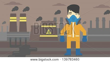 An asian man wearing gas mask and radiation protective suit. Man in radiation protective suit on a background of nuclear power plant. Vector flat design illustration. Horizontal layout.