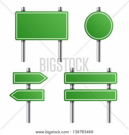 Green Road Sign Set on White Background. Vector illustration