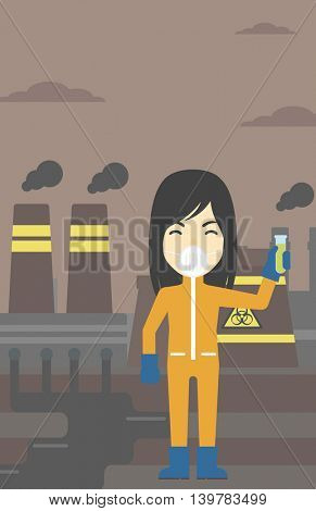 An asian scientist in radiation protective suit. Woman holding a test-tube with some liquid on a background of nuclear power plant. Vector flat design illustration. Vertical layout.