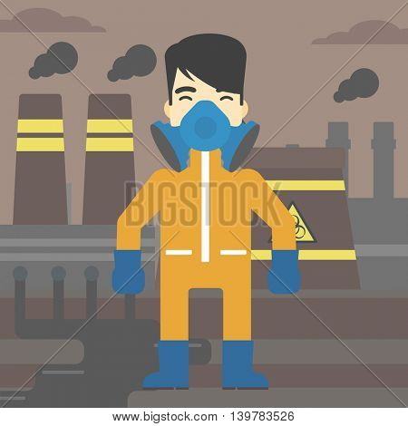 An asian man wearing gas mask and radiation protective suit. Man in radiation protective suit on a background of nuclear power plant. Vector flat design illustration. Square layout.