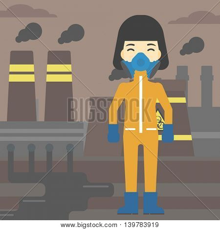 An asian woman wearing gas mask and radiation protective suit. Woman in radiation protective suit on a background of nuclear power plant. Vector flat design illustration. Square layout.