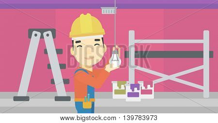 An asian electrician twisting a light bulb. An electrician installing light in an apartment. Electrician changing light bulb. Vector flat design illustration. Horizontal layout.