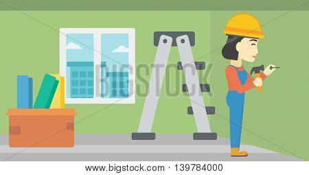 An asian female worker hammering a nail into the wall. Worker in overalls and hard hat nailing with hammer in apartment. Vector flat design illustration. Horizontal layout.