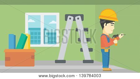 An asian worker hammering a nail into the wall. Worker in overalls and hard hat nailing with hammer in apartment. Vector flat design illustration. Horizontal layout.