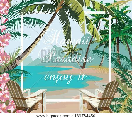 Tropical Exotic Paradise Beach. Summer Beach with Palm trees and flowers. Vector background card