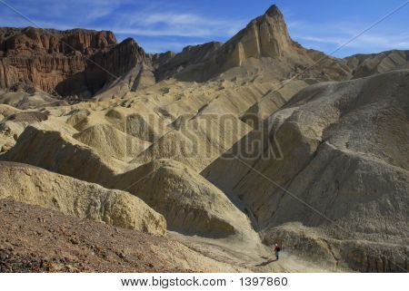Hiker In Golden Canyon, Death Valley