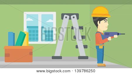 An asian worker drilling a hole in the wall. A man in overalls and hard hat working with hammer drill. Vector flat design illustration. Horizontal layout.