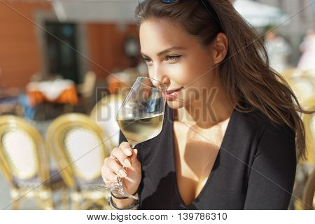 Wine Tasting Tourist Woman.