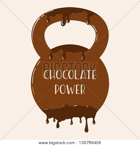 Vector chocolate kettlebell with melting effect. Kettlebel with label