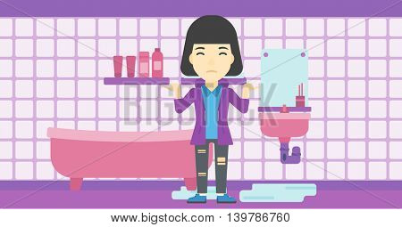 An asian woman with spread arms standing near leaking sink in the bathroom vector flat design illustration. Horizontal layout.