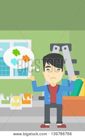 A doubtful asian man choosing color for walls in apartment. Man with spread arms choosing a color of paint. Vector flat design illustration. Vertical layout.