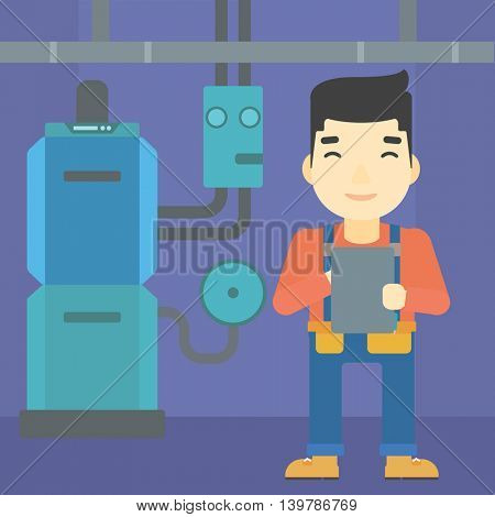 An asian man making some notes in his tablet on a background of domestic household boiler room with heating system and pipes vector flat design illustration. Square layout.