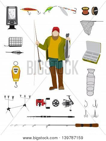 Fisherman and fishing tackle flat icon set Fishing rod, bait, lure, net and other gear and equipment abstract vector illustration
