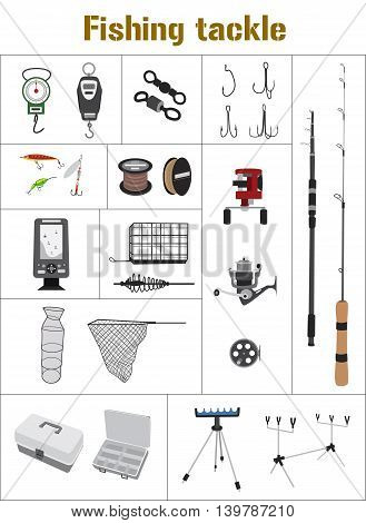 Fishing tackle flat icon set Fishing rod, bait, lure, net and other gear, supplies and equipment abstract vector illustration