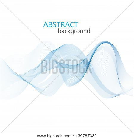 Abstract Vector Background, Blue Transparent Waved Lines. Blue Smoke Wave. Blue Wavy Background