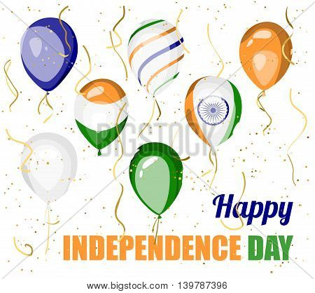 Happy Independence day of India. Vector balloons with indian flag symbol and colors. Indian national holiday festive poster, banner or greeting card design.
