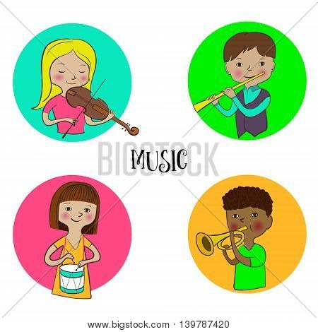 Violinist girl, flutist boy drummer and trumpeter kids. Musician children icons set. Funny cute kids with musical instruments. Flat sketch, doodle style vector. Round design.