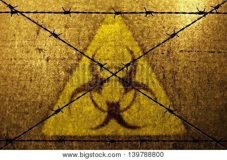Biohazard background with barbed wire. Biohazard concept