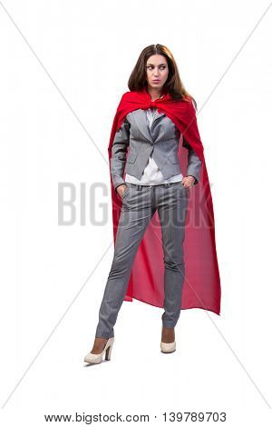 Young superwoman isolated on white