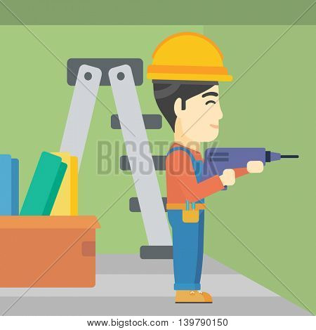 An asian worker drilling a hole in the wall. A man in overalls and hard hat working with hammer drill. Vector flat design illustration. Square layout.