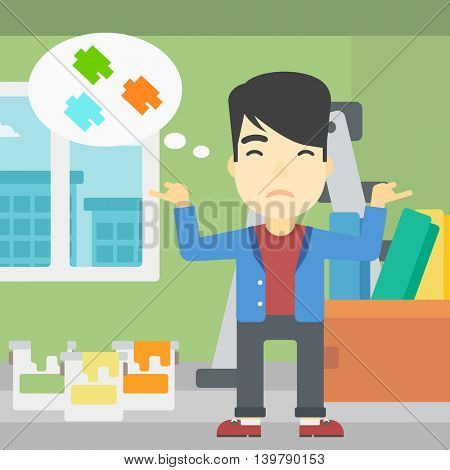 A doubtful asian man choosing color for walls in apartment. Man with spread arms choosing a color of paint. Vector flat design illustration. Square layout.